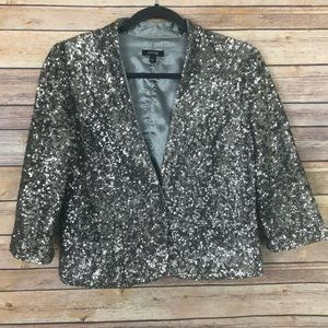 Apt 9 Small Silver Sequin Evening Jacket XB